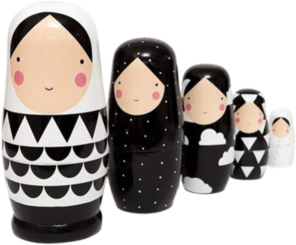SUPVOX Russian Nesting Dolls Cute Figurine Matryoshka Wood Stacking Nested Toy Sets for Kids Birthday Gift Decoration