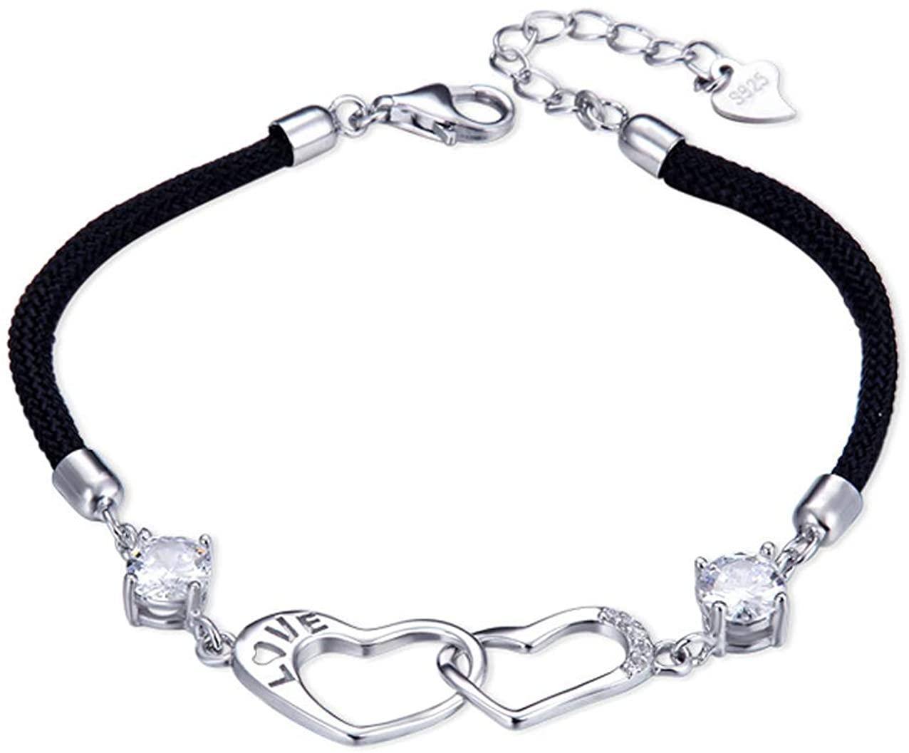 Bracelet for women, SUNCHIO 925 Sterling Silver Double Heart Women Fashion Bracelet, Woven Adjustable Charm Bridesmaid Bracelet, Couple Bracelet, Girl's Sterling Silver Bracelet