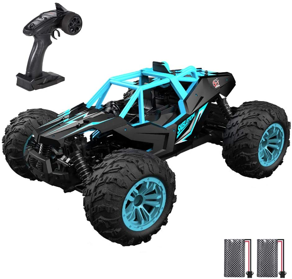 GoolRC RC Car 1:14 Scale 2.4Ghz Remote Control Car, 4WD 36KM/H High Speed Off Road Monster Trucks, Alloy Shell Electronic Vehicle All Terrain Racing Climbing Car with 2 Batteries for Kids and Adults