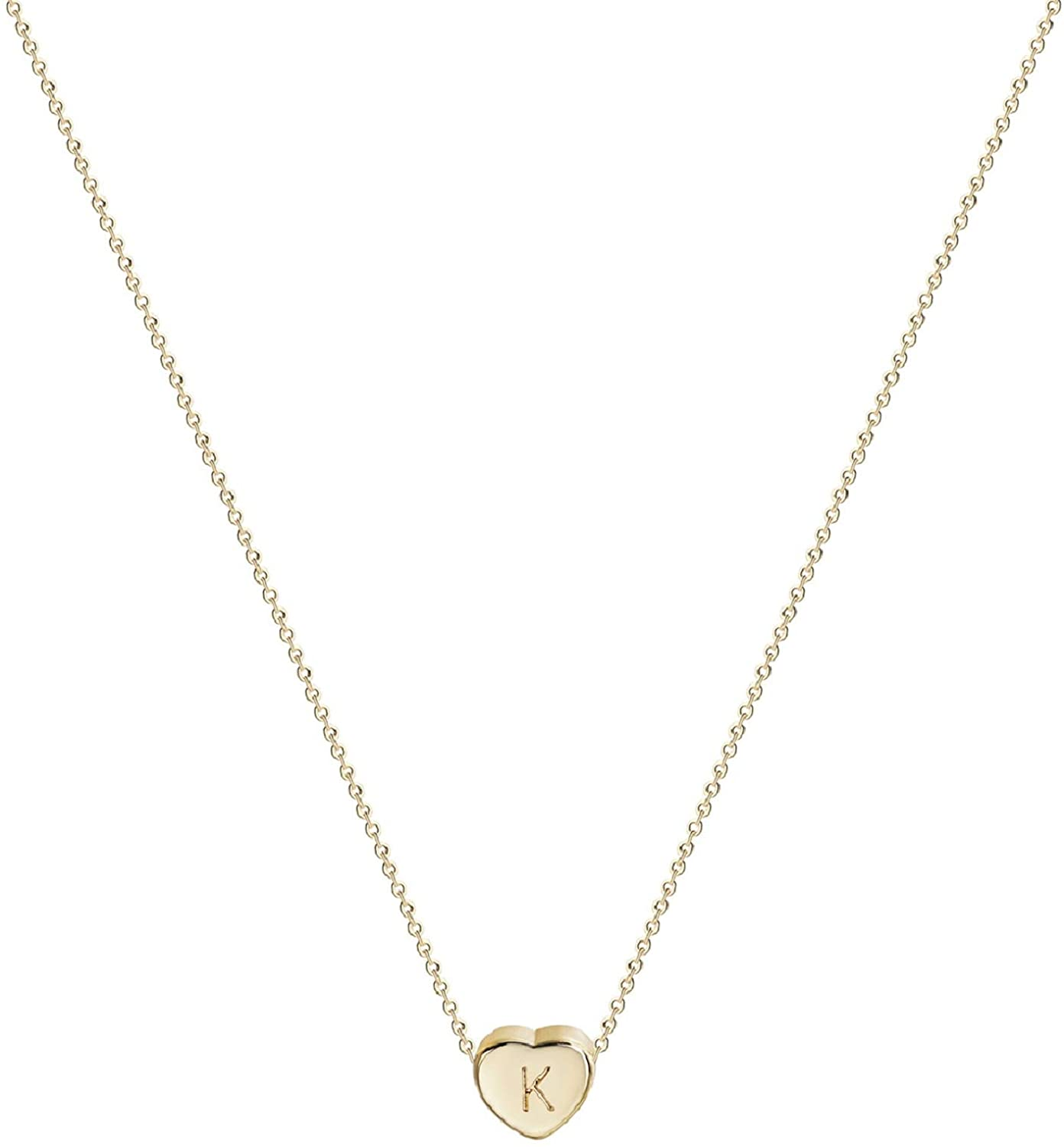 Love Heart Initial Pendant Necklace, 14 K Gold Plated Personalized Tiny Lovely Heart with Letters Charm Necklace for Women