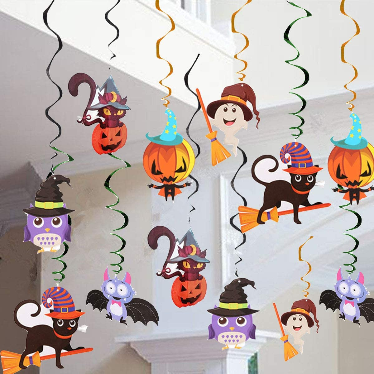 Halloween Hanging Swirl Decoration, Colorful Hanging Swirl Ceiling Decoration, Witch, Bats and Skull themed Hanging Swirl Decoration, Spider and Skull Display, Scary Pumpkin Standees