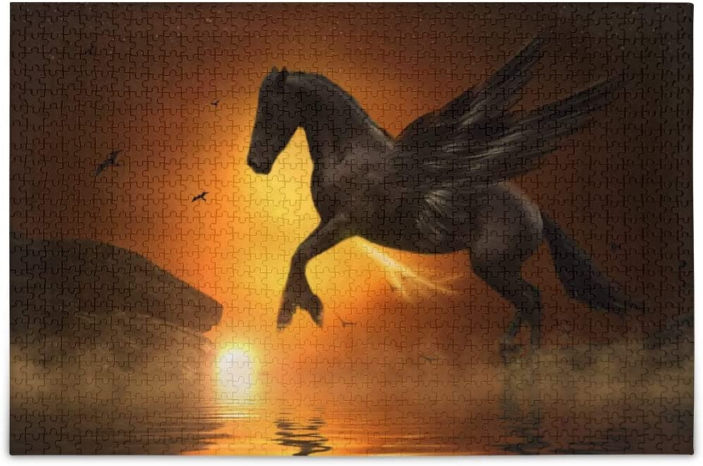 Vvfelixl - Pegasus Moon Jump Rock Gold Horse with Wings - 1000 Pieces Jigsaw Puzzle - 29.5
