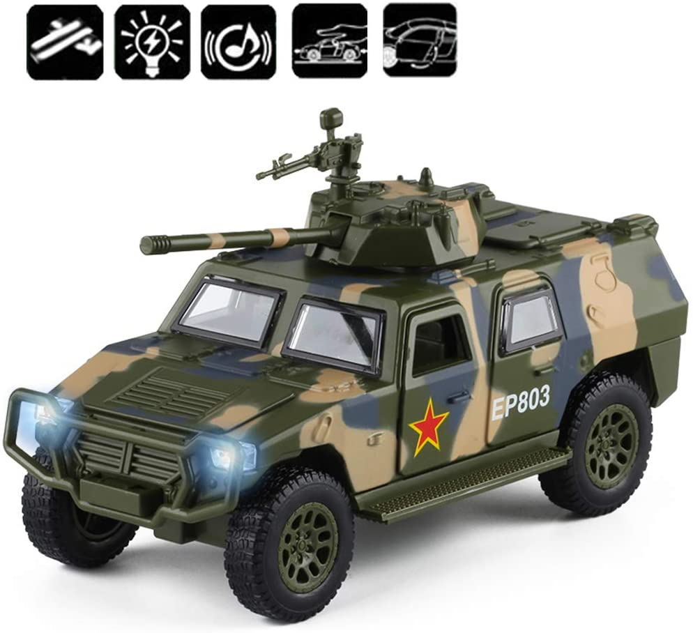 CORPER TOYS Military Toys Truck Army Fighter Tank Armored Off Road Vehicle Friction Powered Toy Car with Lights and Sounds