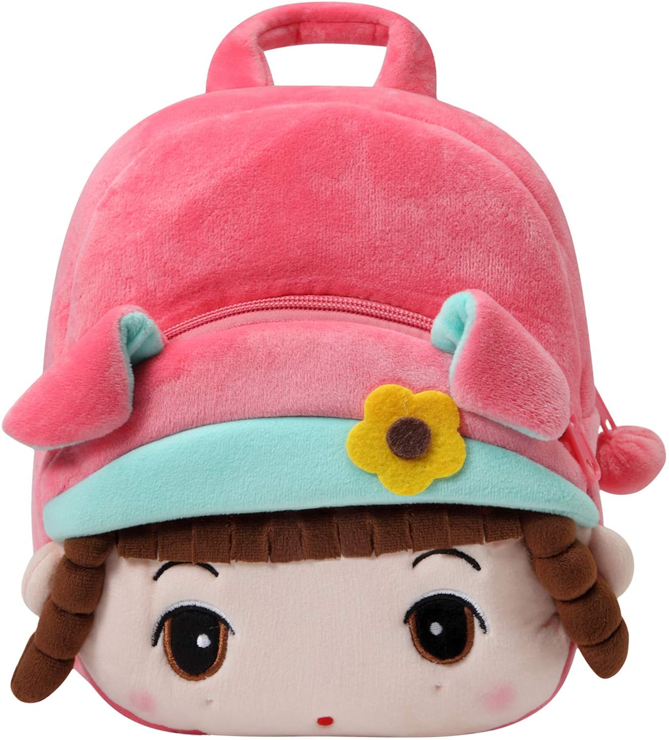 Toddler Backpack for Girls, KASQO Small Cute 3D Mini Kids Soft Plush Backpack for Baby Pink Girl