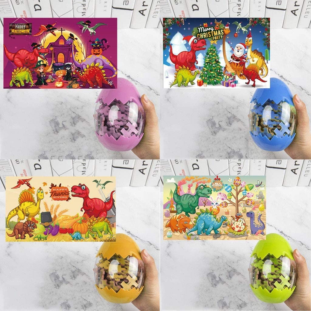 Simpleee - Dinosaur Puzzle, Wooden Puzzles 60 Pieces Puzzles for Kids Ages 3-12 Dino Toys Boys Girls Gift