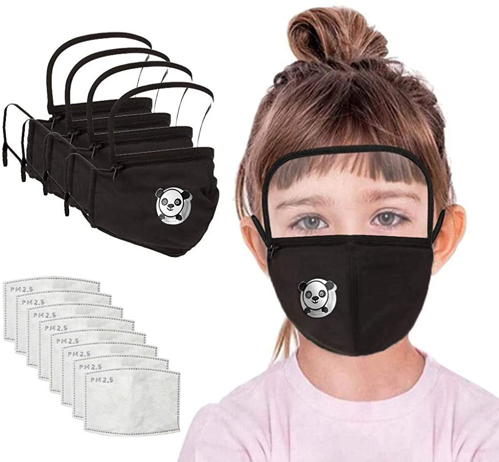 Selinora 3PC Pack+ 6PC Filters Kids Washable Reusable Face Covering with Filter and Detachable Eye Shield for School