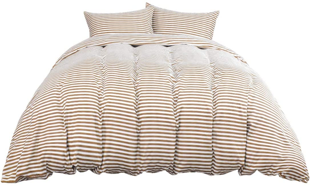 PiccoCasa Striped Duvet Cover Set (No Duvet), 100% Brushed Microfiber Soft Comforter Cover Set, Stripes Pattern Printed Duvet Cover with Corner Ties (Twin Size, Khaki)