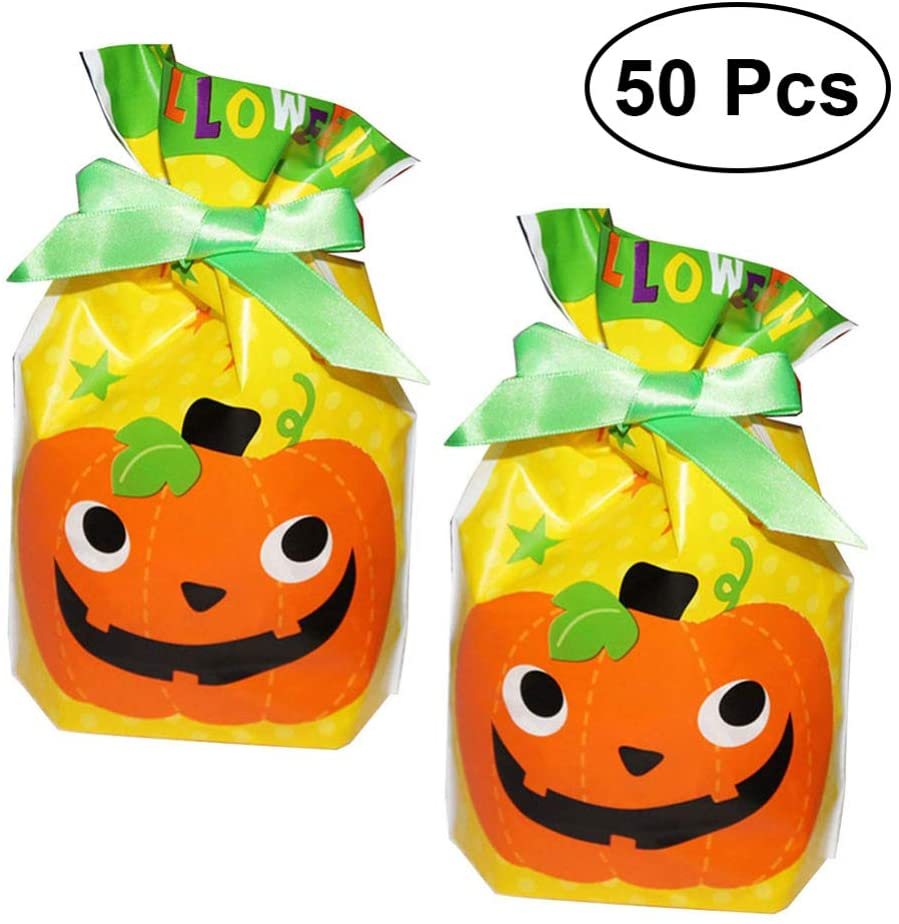 Cabilock 50pcs Halloween Drawstring Goody Bags Trick or Treat Plastic Candy Bags for Halloween Party Favors, Halloween Party Supplies (Pumpkin)