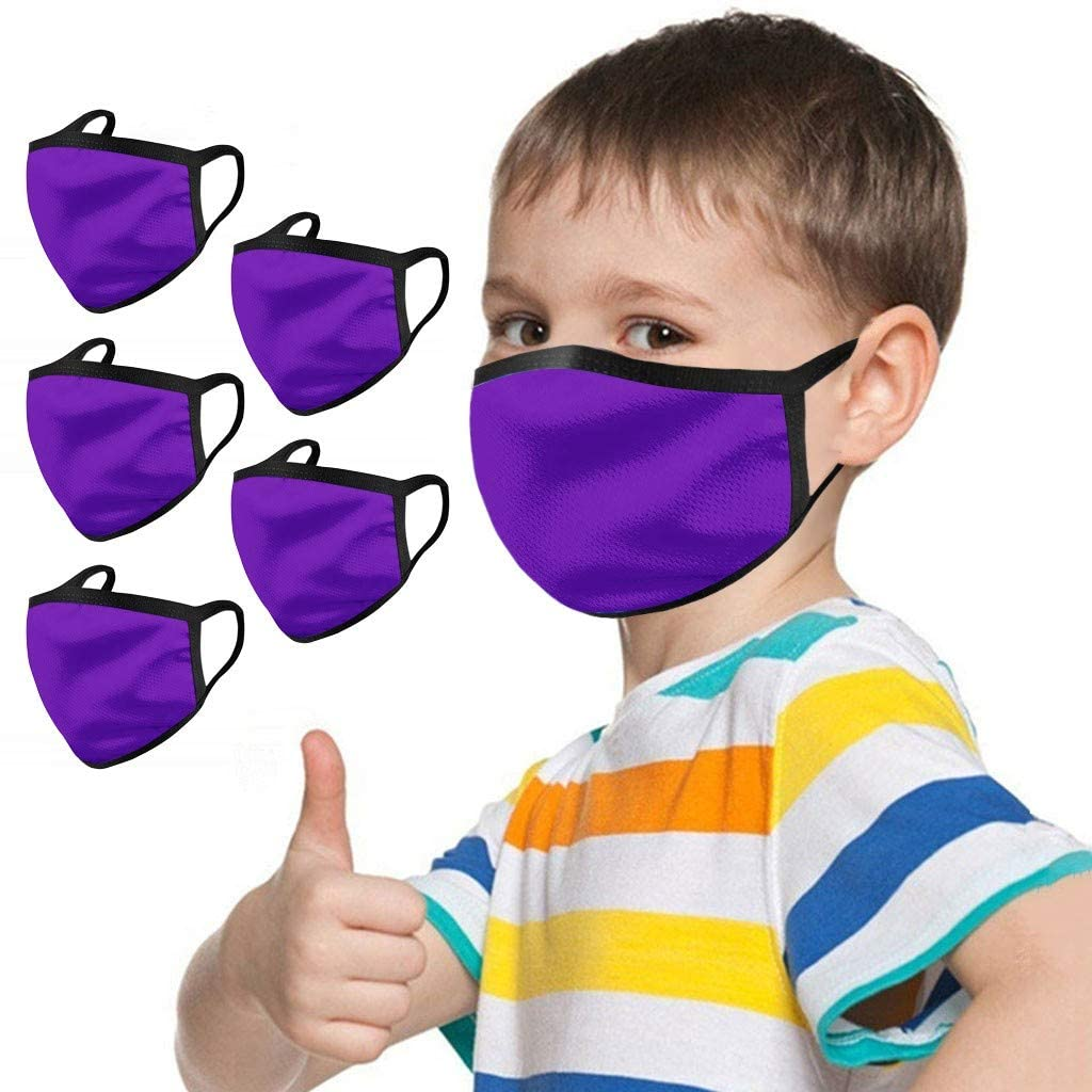 Youdw 5PC Boys and Girl's Solid Color Face Coverings, Cotton Bandanas, Reusable Washable Seamless, Outdoor Windbreak Cloth for Halloween and Traveling【Fast Delivery】 (Purple)