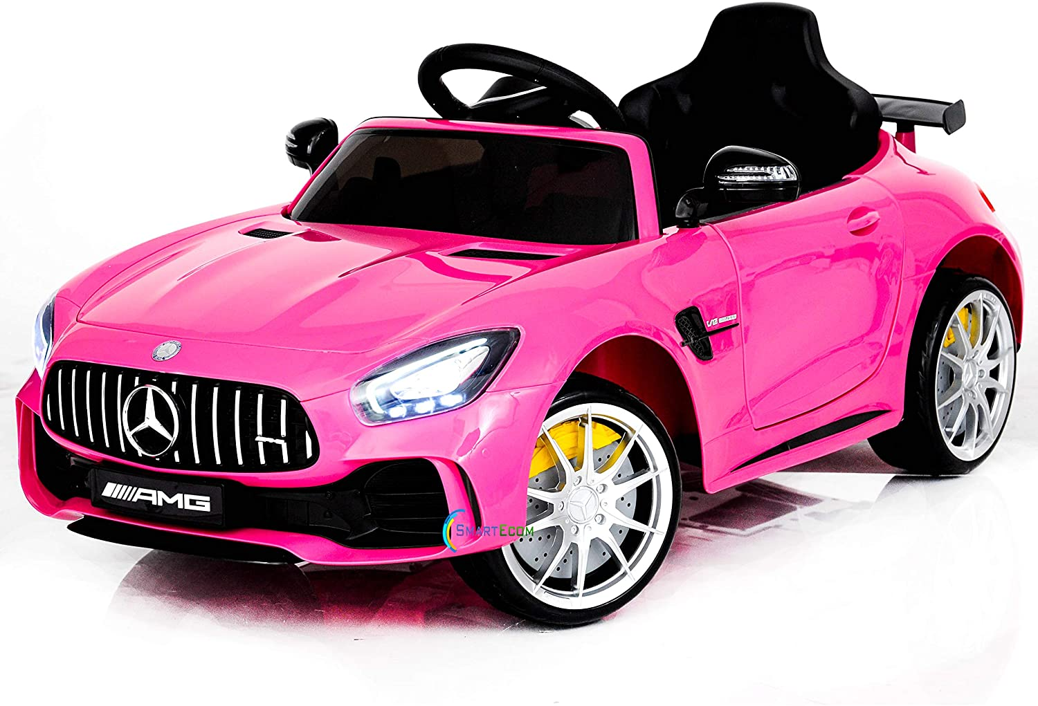 Ride On Car 12V Mercedes - Ride On Toys - Battery Powered Electric Car for Baby - with Parental Remote Control - Kids Ride in Car w/Spoiler Mercedes GTR MP3 Plastic Wheels Horn Pink