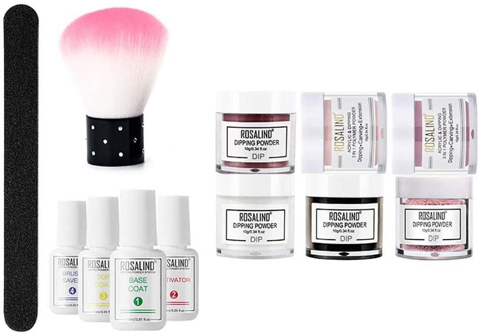 Dip Powder Nail Kit, Base & Top Coat, Activator, Acrylic Dip Powder Starter Kit for Beginner, Nude Red Dark Series, French Manicure Kit