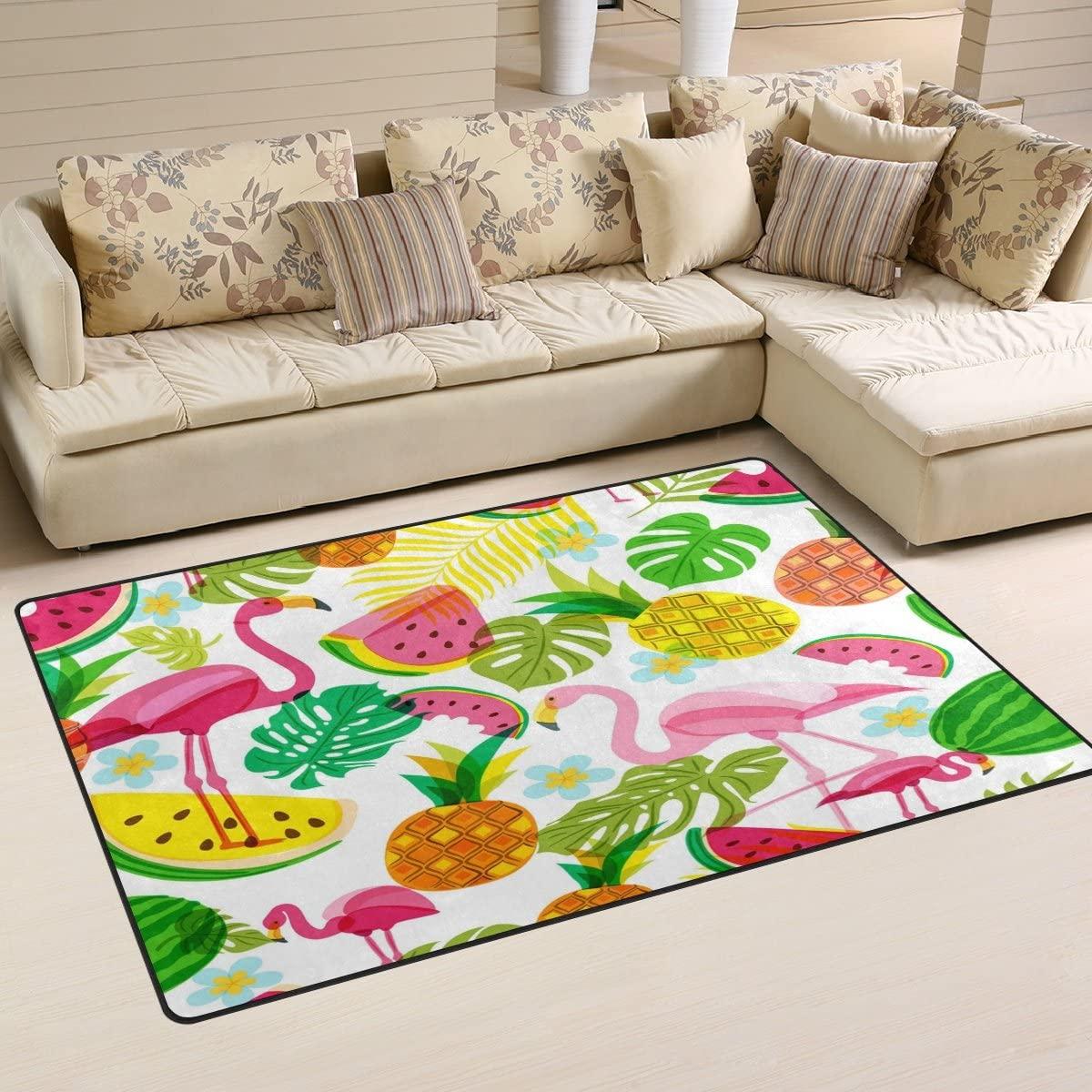 WOZO Watermelon Pineapple Flamingo Bird Palm Area Rug Rugs Non-Slip Floor Mat Doormats Living Dining Room Bedroom Dorm 60 x 39 inches inches Home Decor