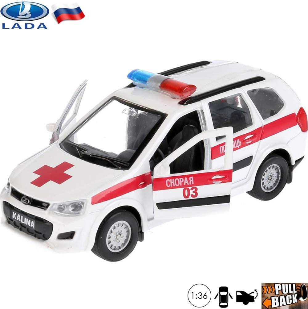 Diecast Metal Model Car Lada Kalina Cross Russian Ambulance Toy Die-cast Cars