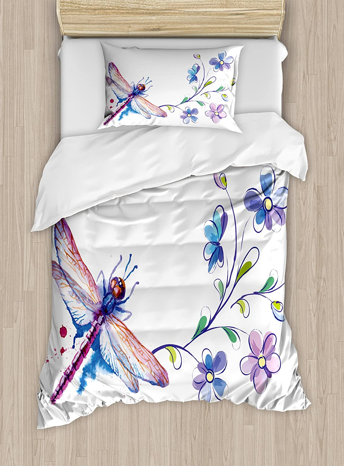 Ambesonne Dragonfly Duvet Cover Set, Watercolor Bug Butterfly Like Moth with Branch Ivy Flowers Lilies Art, Decorative 2 Piece Bedding Set with 1 Pillow Sham, Twin Size, Green Purple and Blue