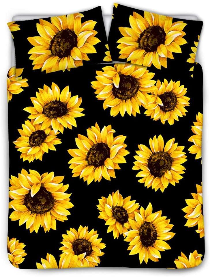 HUISEFOR Sunflower Duvet Cover Set Comforter Cover King Size for Kids Women Yellow Flowers Bedding Set Sunflower Pattern Decor Duvet Cover Bedding Set with Pillowcase,3pcs Set