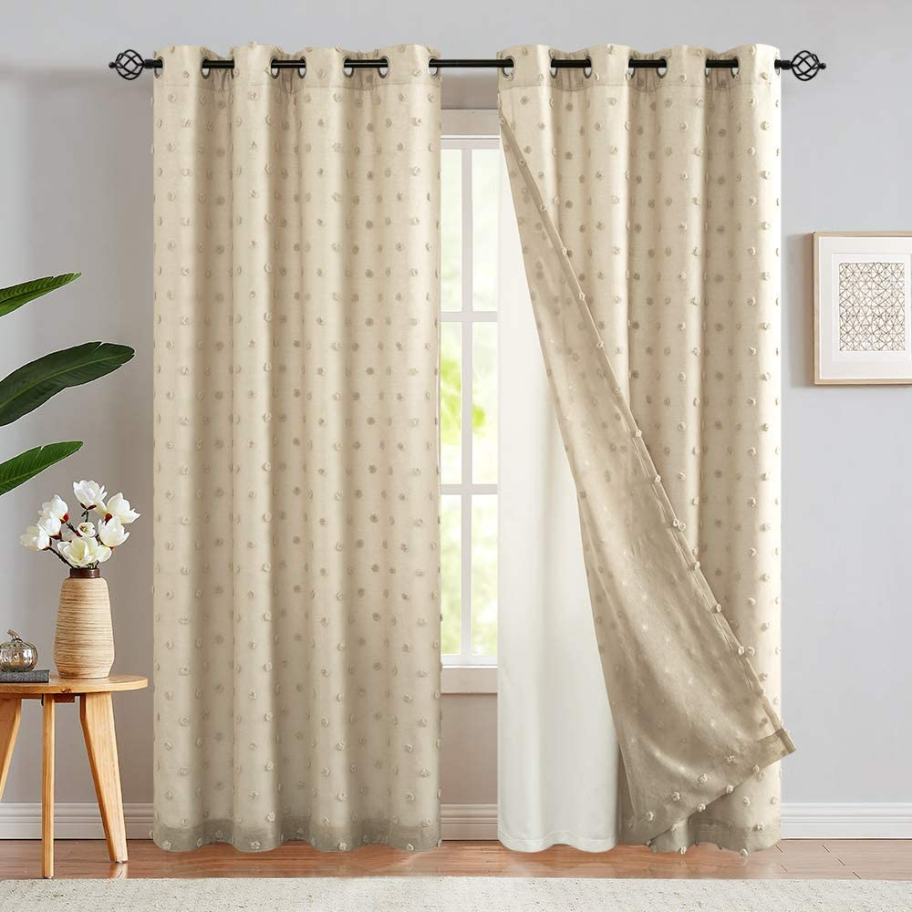 jinchan White Curtains Embroidered with Pom Pom 2 Panels Double Layers Grommet Drapes for Living Room 95 Inch Beige