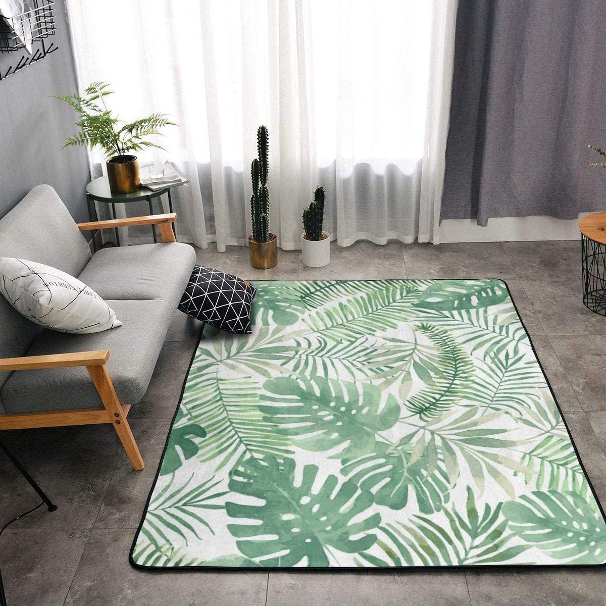 Area Rug Soft Fluffy Carpet for Bedroom Kids Teens Room, Modern Floor Mat Oversize Door Mat Plush Nursery Rugs for Boys Girls 80x58 in,Mauritius Green Leaves