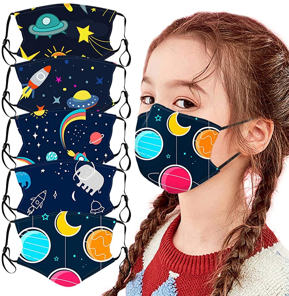 Kids Face Mask Reusable Washable Cloth Face Cover for Protection Space Printed Comfortable Safety Masks School Supplies