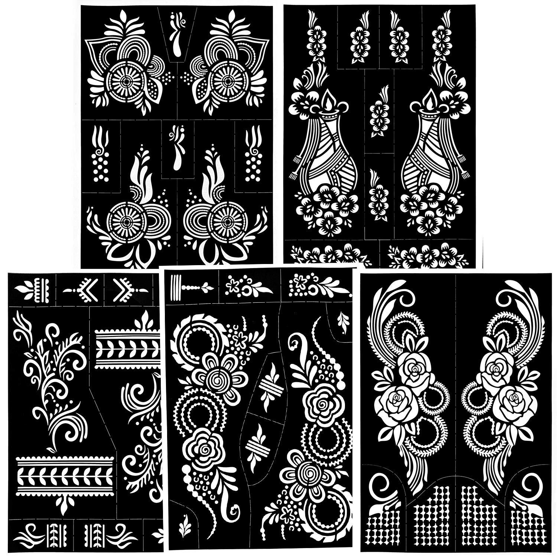 Konsait 39pcs Temporary Tattoo Stencils,Reusable Glitter Tattoo Stencil Kits,Flower,Indian Self Adhesive Tattoo Sticker, Face Paint Stencils for Adults Women Girls Boys