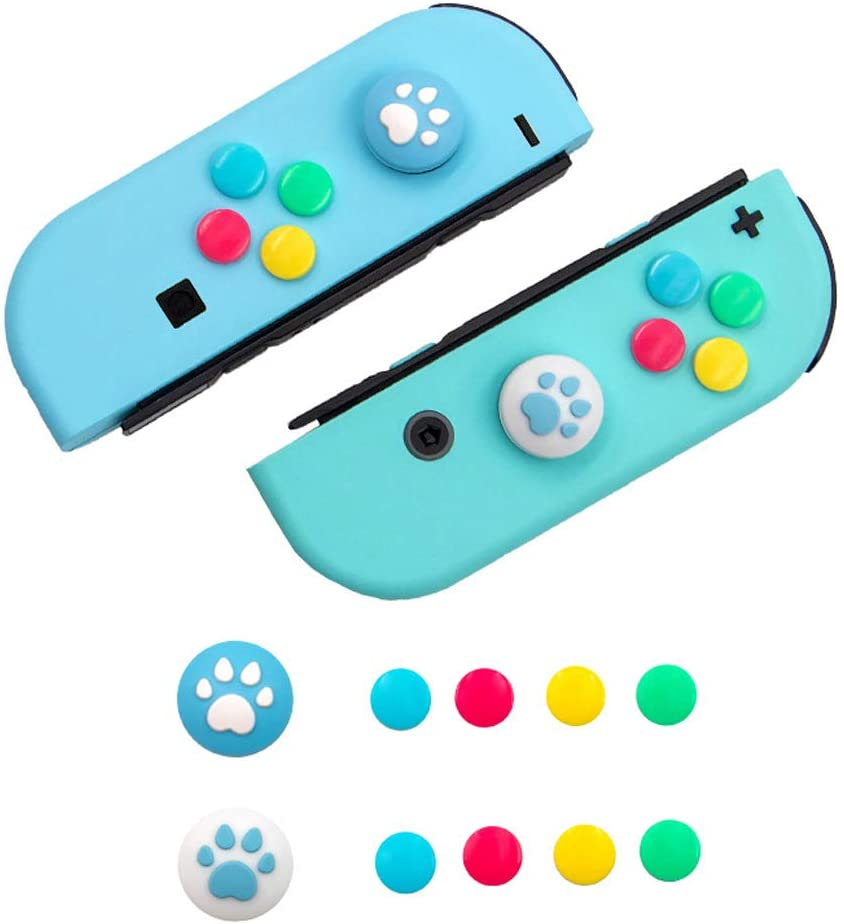 10PCS Silicone Cat Claw Thumb Grips Joy-Con Direction Action Button Sticker Set Protection Joystick Assist Caps for Nintendo Switch & Switch Lite Joy-Con Controller Accessorie