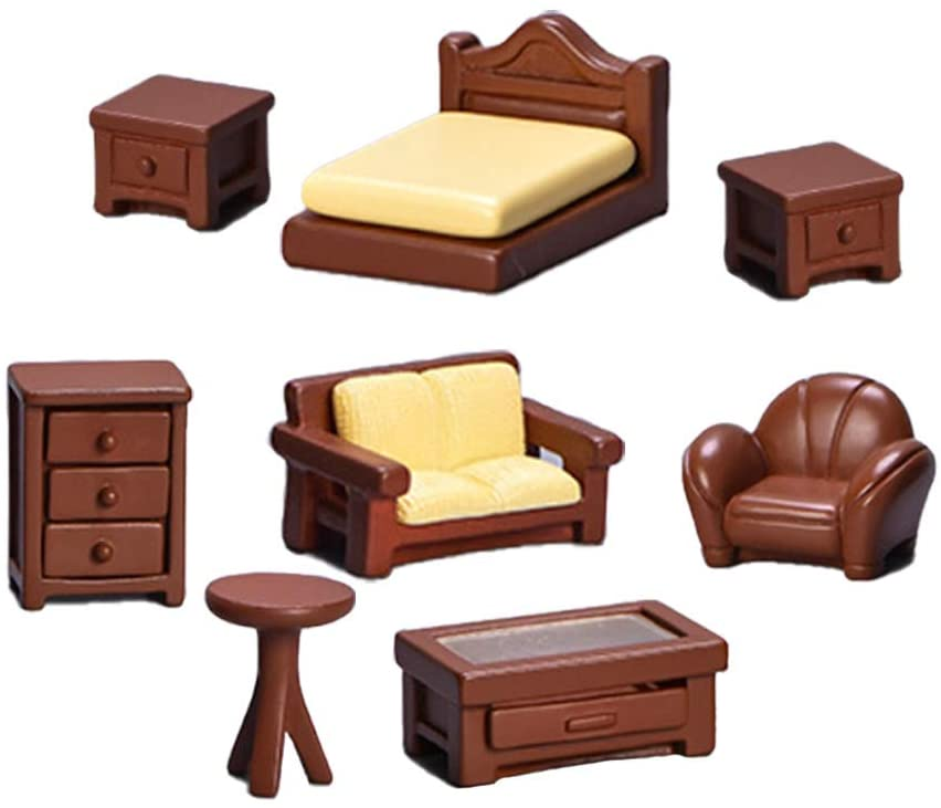 Set of 8 Miniature Dollhouse Furniture Decoration Mini Dollhouse Furniture Models Set Dollhouse Accessories Pretend Play Kids Toy