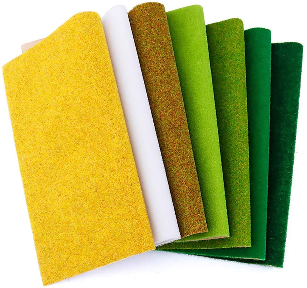 MAY.T 2Pcs Model Grass Mat 39''X 15.7'' for Decoration Craft Scenery DIY Scale Model Grass Green