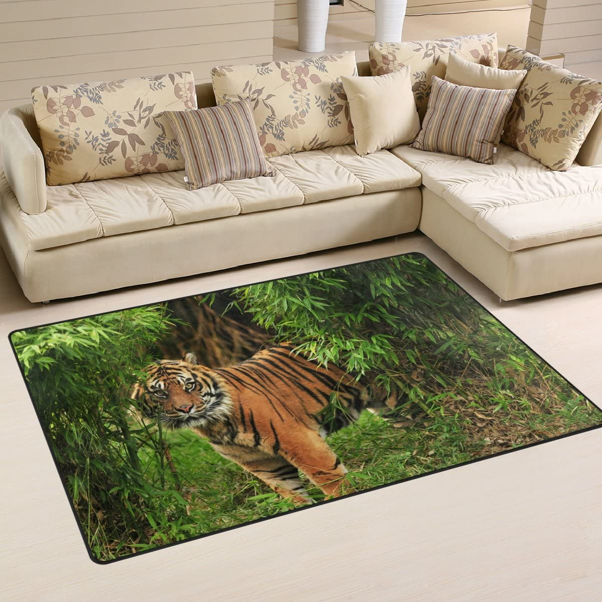 WellLee Animal Area Rug,Jungle Beast Scary Wild Angry Tiger Portrait Floor Rug Non-Slip Doormat for Living Dining Dorm Room Bedroom Decor 31x20 Inch