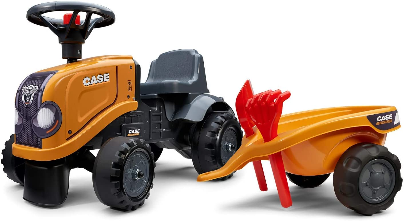 Falk Case CE Baby Orange Tractor Push-Along with Tailer, Accessories & 2 Sets of Decals