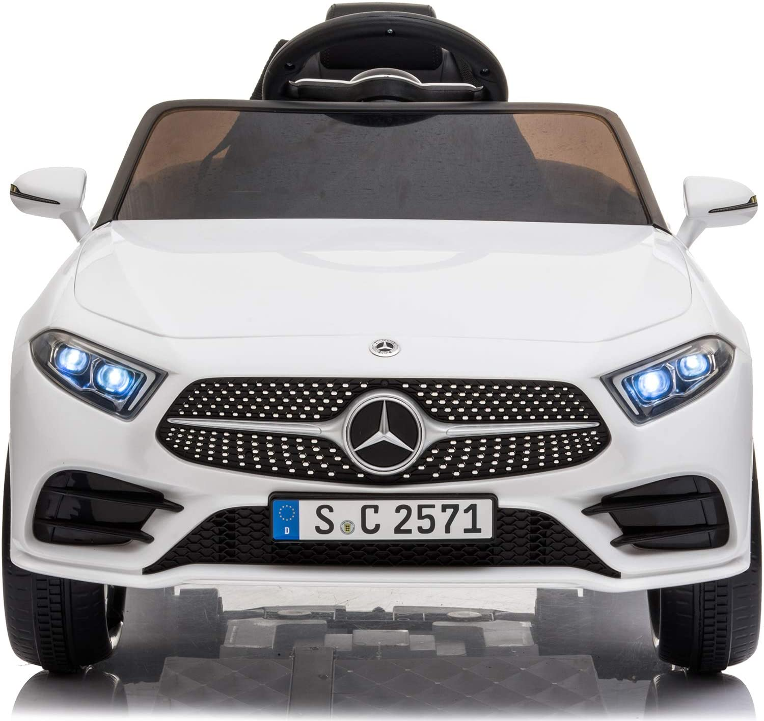 Little Brown Box Kids 12V Licensed Mercedes Benz CLS Ride on Car,Driving Battery Operated Vehicle Toy W/ Parent Remote-Control,Music,Sounds& Lights - for Toddler,Baby,Children,1,2,3 Years Old - White