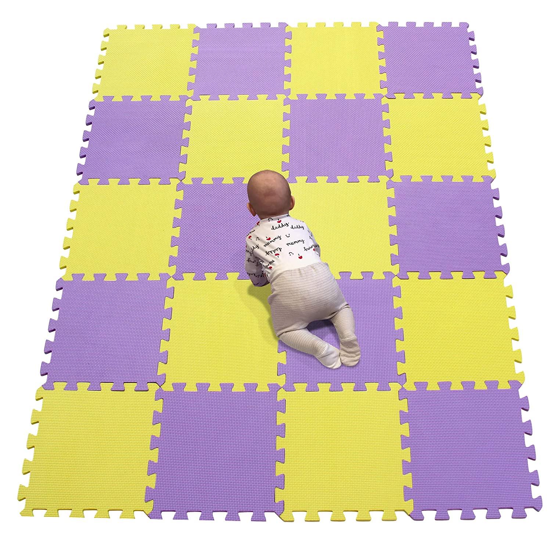 YIMINYUER Waterproof Interlocking Soft Eva Foam Mats Pads Room Garage Floor Tiles Mat Set Kids Baby Play Puzzle Yoga Fitness Gym Exercise Mats Yellow Purple R05R11G301020