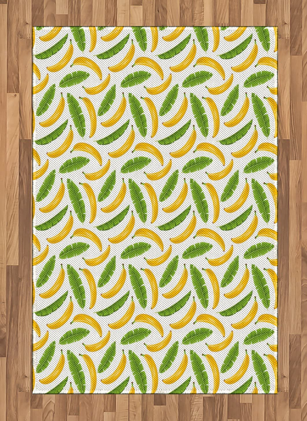 Ambesonne Playroom Area Rug, Banana Leaves Yummy Tropical Fruit Vacation Climate Kids Print, Flat Woven Accent Rug for Living Room Bedroom Dining Room, 4' X 5.7', Fern Green Yellow