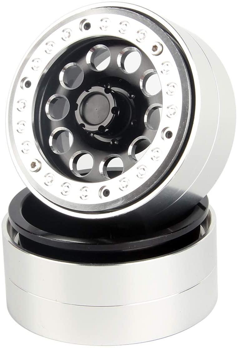 LCX Racing 1/10th RC Crawler Car CNC Aluminum 1.9 Inch Beadlock Wheel Rim Set for Axial SCX10 SCX10 II 90046 Wraith D90 Traxxas TRX4 TRX6 (2PCS)