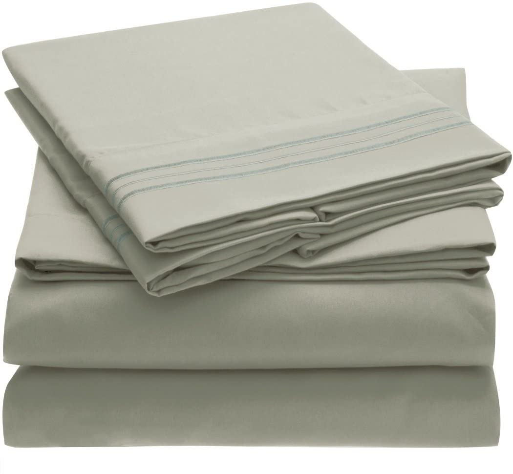 Ideal Linens Bed Sheet Set - 1800 Double Brushed Microfiber Bedding - 4 Piece (Queen, Spa Mint)