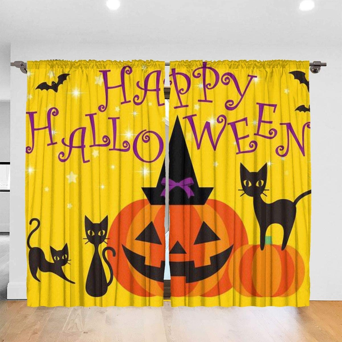 Xianlixiu Window Curtain Drapes Panels Happy Halloween Thermal Insulated Blackout Curtains 2 Panels for Living Room Bedroom Dining Room 52 X 84 Inch