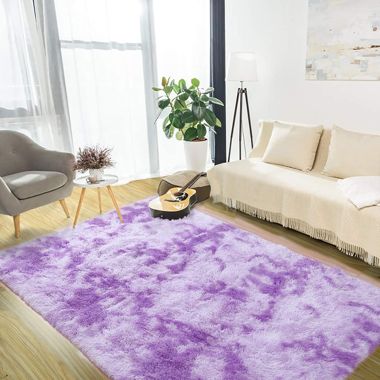 Luxury Velvet Shag Area Rug Soft Modern Fluffy Fur Rugs,Premium Geometric Moroccan Floor Rugs for Bedroom Living Girls Room Kids Indoor Carpet 5' x 8' Purple