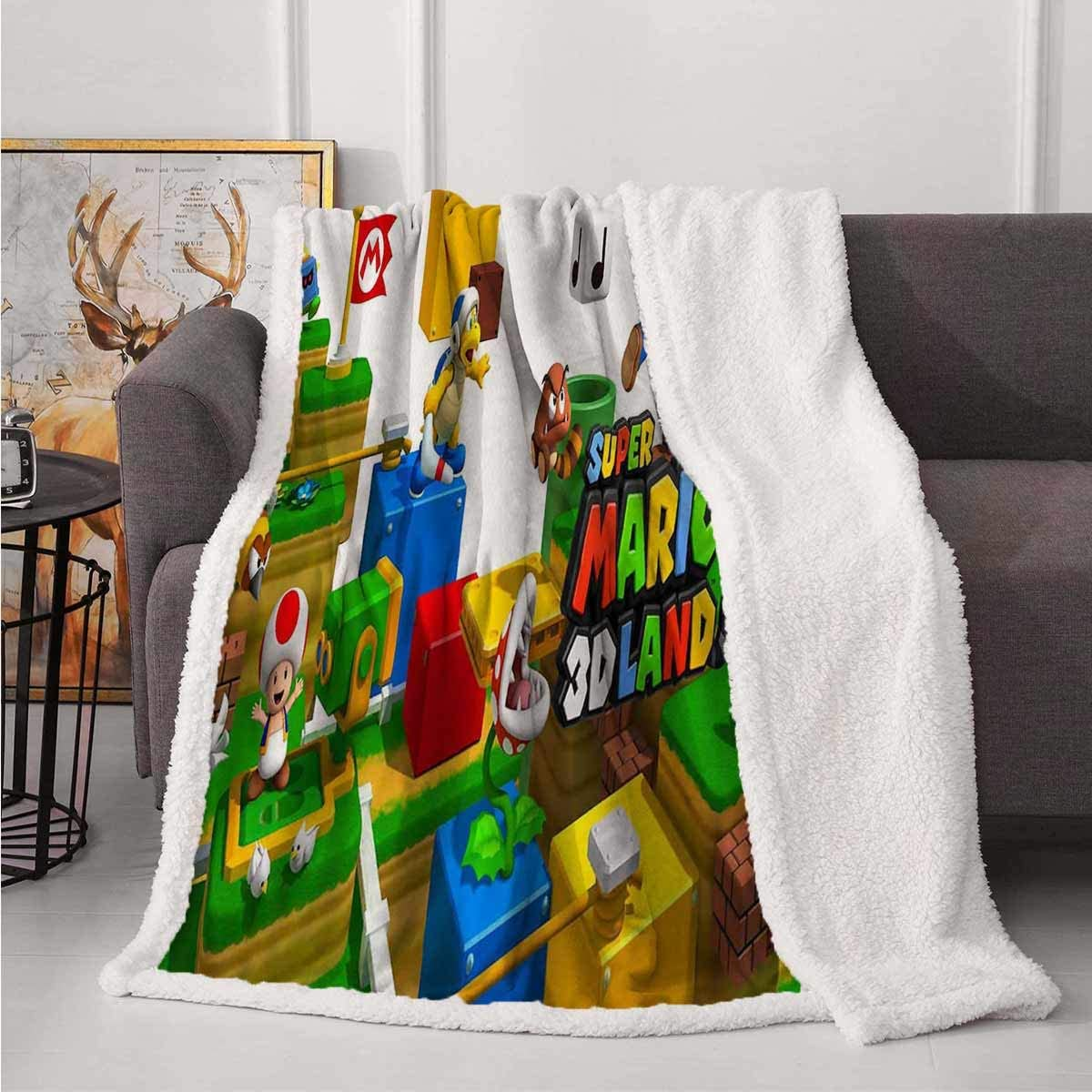 SOSO-LALEO Flannel Fleece Luxury Blanket for Boys, Girls, Kids, Toddler Super Mario Game 3D World Cartoon Background Reversible Plush Bed Blankets for Couch Sofa Bed Traveling 40x50 in