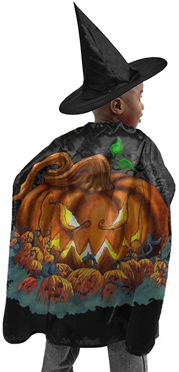 Halloween Costume 2 Pcs Pumpkin Patch Halloween Horizontal Poster Halloween Wizard Hat Cape Cloak Boy and Girl Party Costume Black