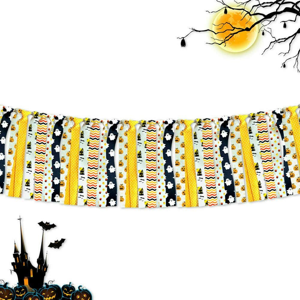 7-gost Halloween Hanging Banner Party Photography Backdrop Photo Prop Garland Supplies(Yellow,Black,White)
