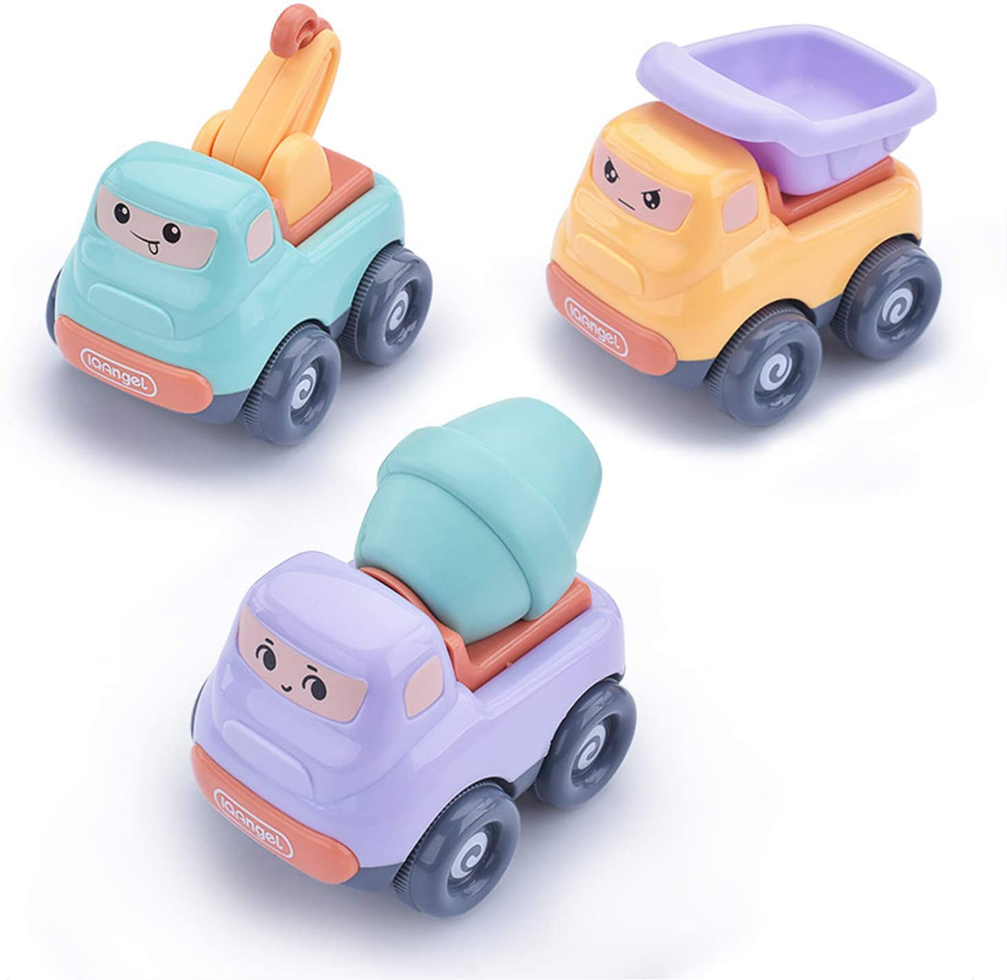 Beville Cute Inertia Friction Powered Push and Go Cars for Toddler Boys & Girls,Set of 3 Pack Kids Early Educational Engineering Vehicles Includes Small Crane, Dump Truck, Mixer Truck.(Random Colors)