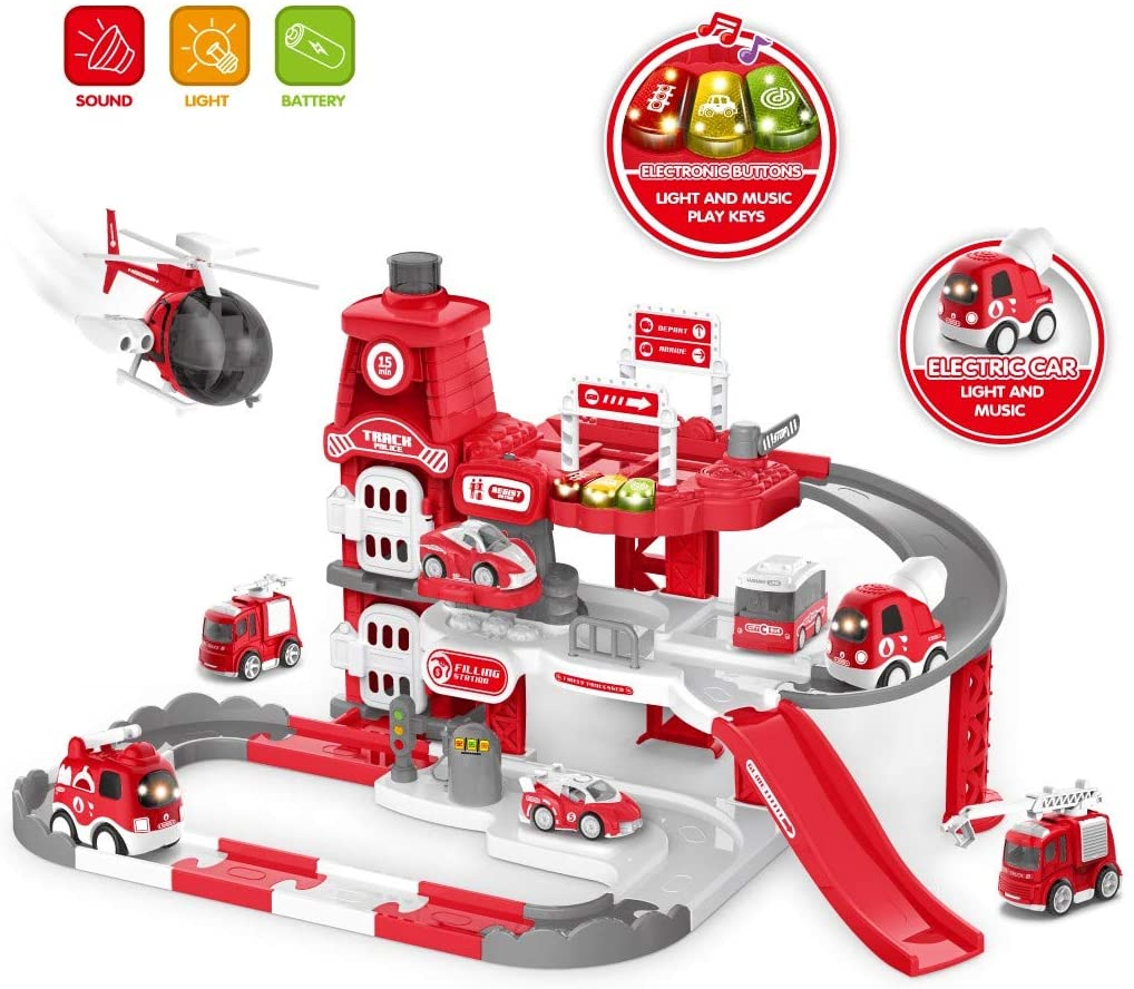 Dawndream Toy car fire Racing Track Set, fire Cartoon Parking lot with Toggle Switch and Music Button
