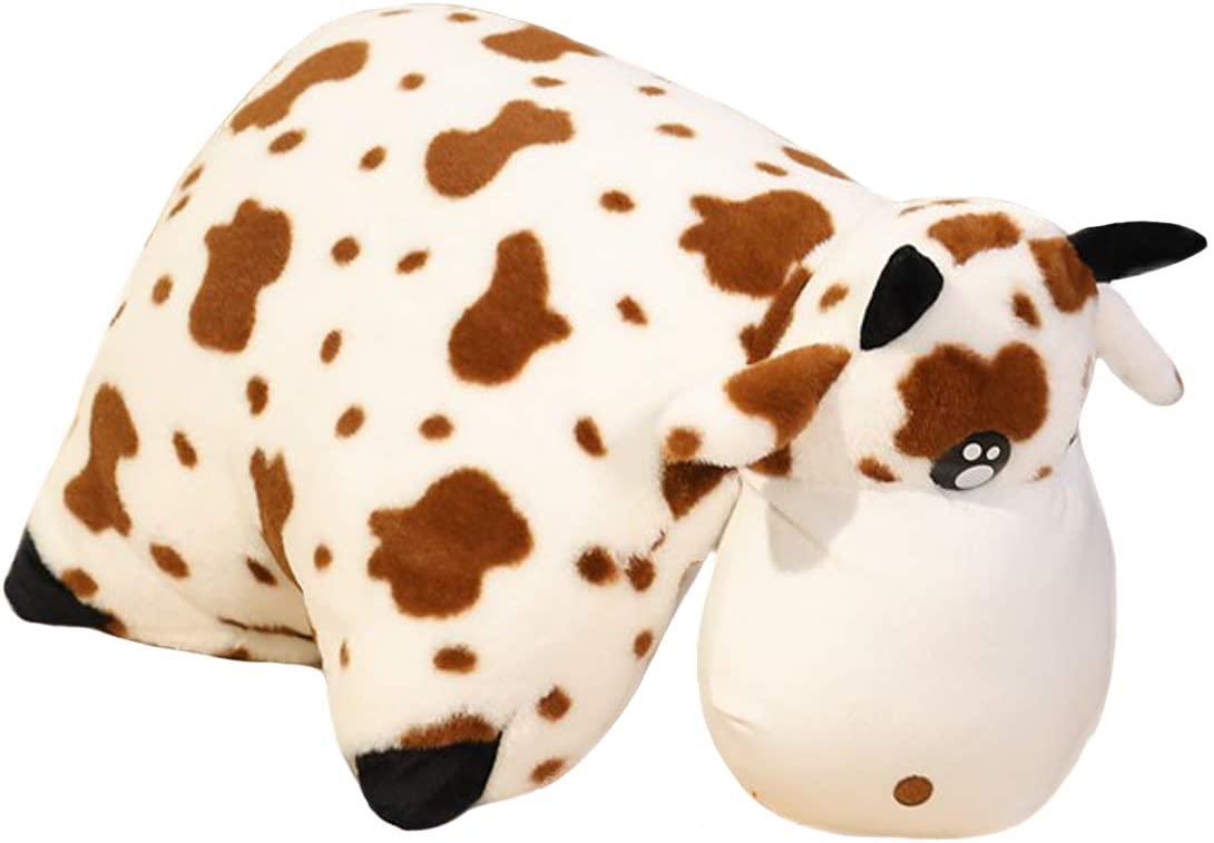N-A Soft Hugging Cow Plush Pillow Pet, 60x40cm Stuffed Farm Animals Toy, Holstein Calf Plushie Gifts Room Sofa Bed Decor