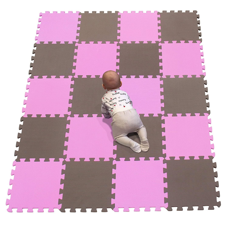 YIMINYUER EVA Foam Floor Mats Interlocking Gym Flooring Tiles | Cushion for Kids Baby Infants Playroom, Workout, Home Gym, Yoga, (30X30 cm) Pink Brown R03R06G301020