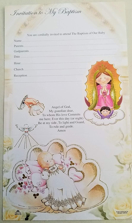 DPW Baptism Bautizo Christening Party Invitations English Invitaciones Virgencita Baby 10PC Fiesta Pink Girl