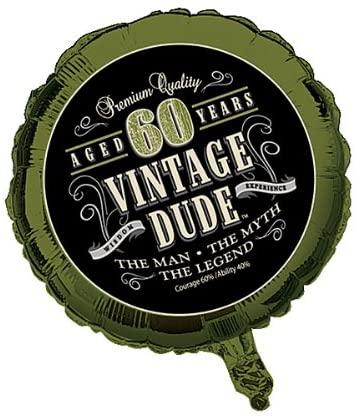 Creative Converting 041667 Vintage Dude Metallic Balloon 60th 10 Counts