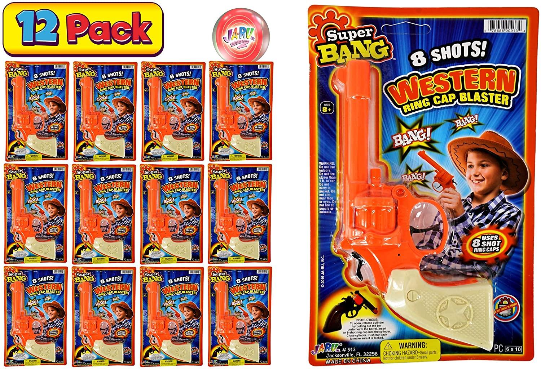 JA-RU Cap Gun Western Wild West Super Bang (12 Units Bulk) Quality Plastic Great Bang Party Favors Supplies for Kids. 913-12p