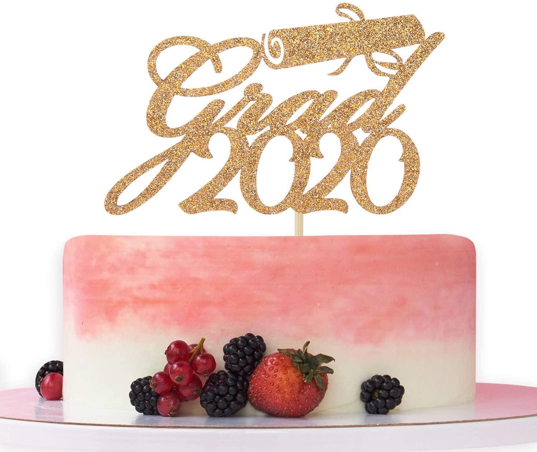 Gold Glitter Grad 2020 Cake Topper,Congrats Grad,High School Graduations/College Graduate,Class of 2020 Graduation Party Decorations