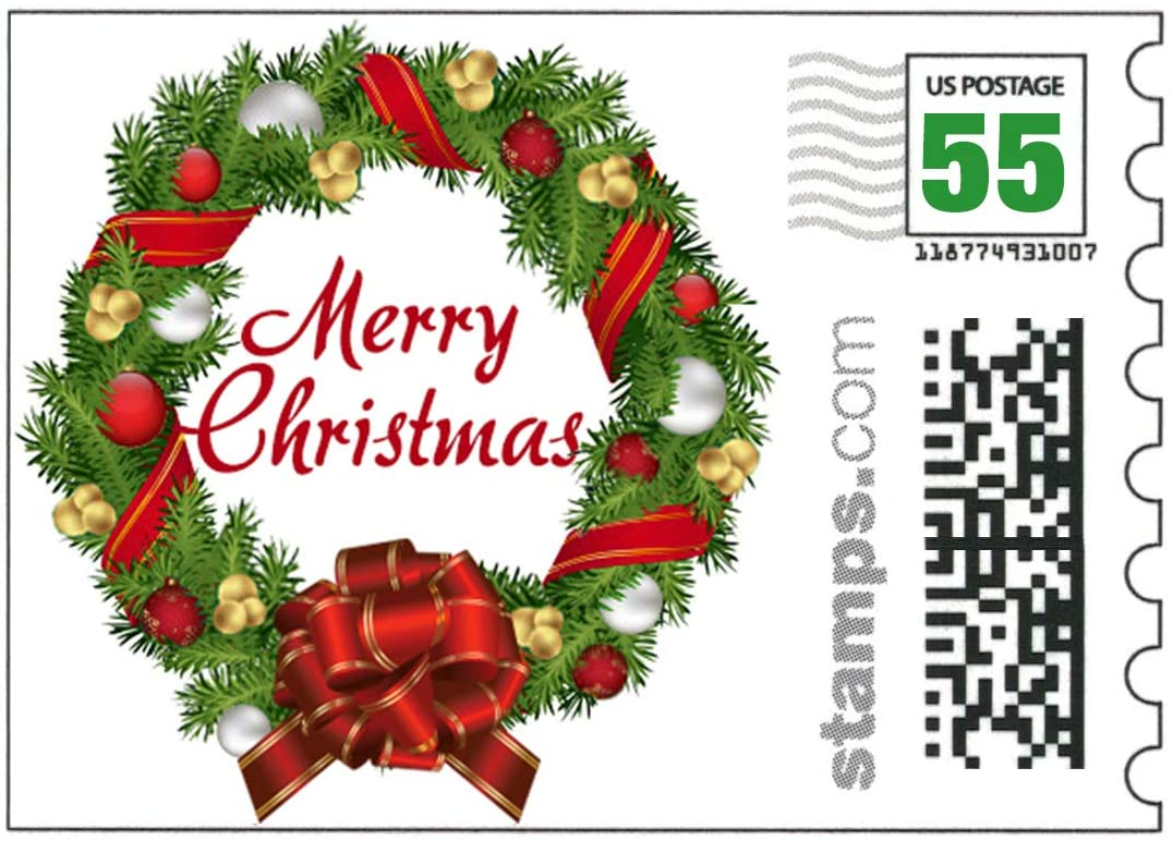 USPS Merry Christmas Stamps - Sheet of 20 First-Class Stamps (Like Forever Stamps)
