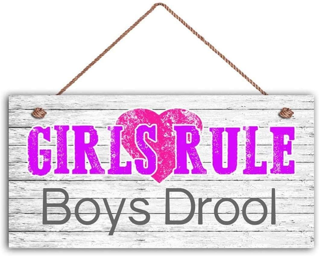 MAIYUAN Girls Rule Boys Drool Sign, Girl's Room Sign, Girl's Room Decor, Girl's Door Sign, 12X6 Sign, Birthday Gift(WE1189)