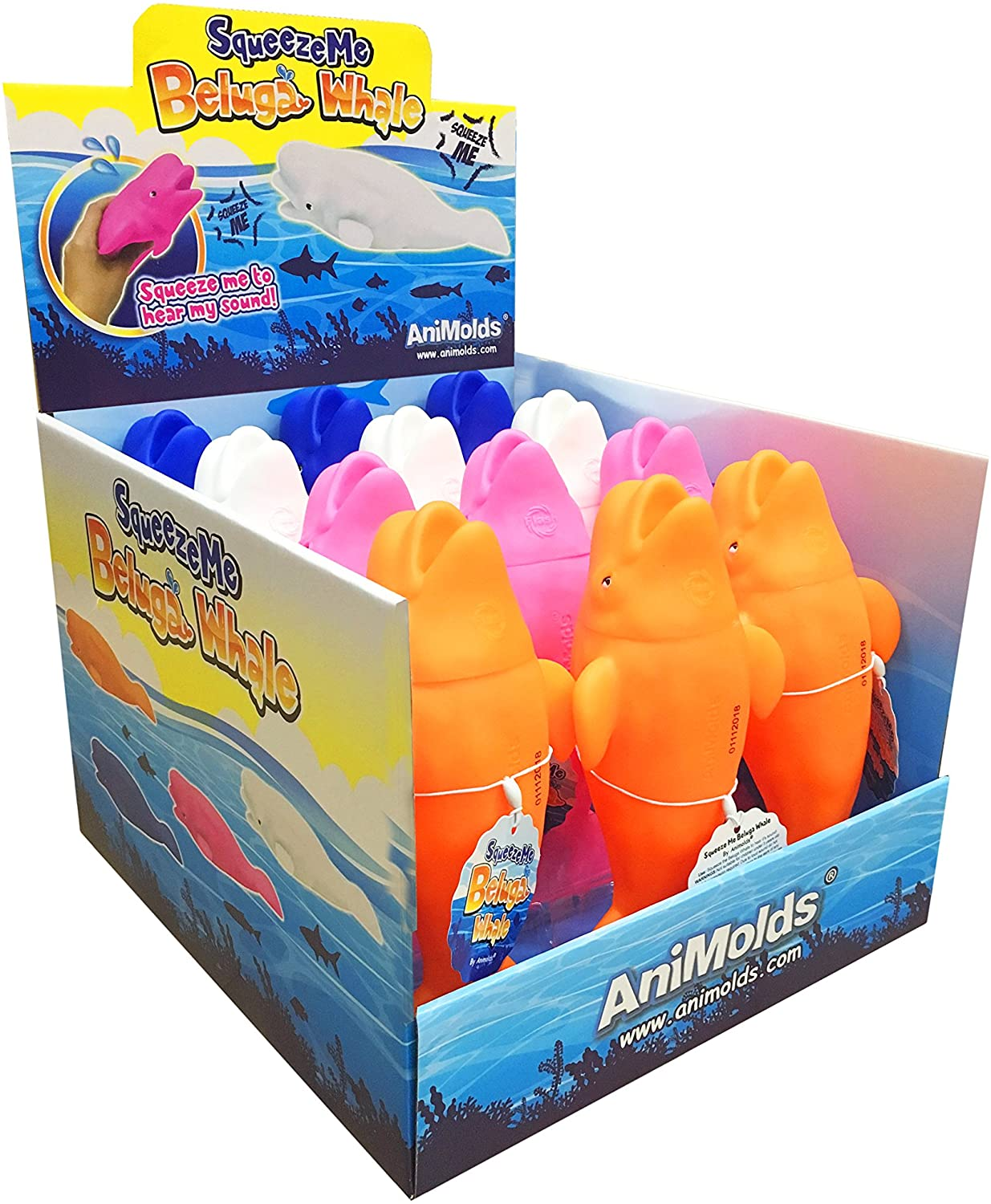 Animolds Squeeze Me Beluga Beautiful Deep Sea Plastic Animals 4 Color Varieties Great Toy for 6 Year Old & Over Squeak Toy Noise Playset Bulk Wholesale (Set 12 Mix)