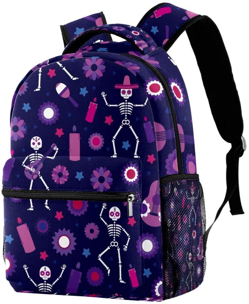 Sugar Skull Backpacks School Bookbags Casual Daypack Bag for Men and Women